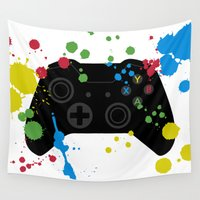 xbox Wall Tapestries featuring Controller Graffiti XBox One by AngoldArts