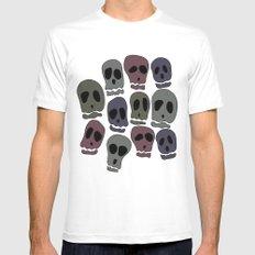 Skulls-2 MEDIUM White Mens Fitted Tee