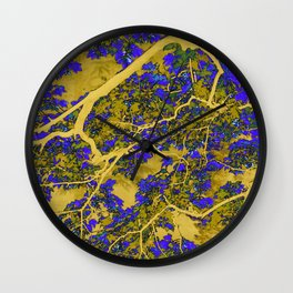 Colourful blue and yellow trees Wall Clock