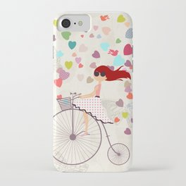 Red haired girl French polka dots dress riding retro bike bicycle backet full of hearts everywhere iPhone Case
