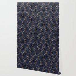 Gold Geometric Navy Blue Wallpaper