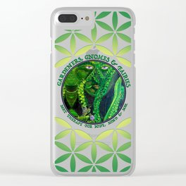 Garden Guardian Gnome in Spring Greens Clear iPhone Case