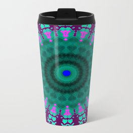 Lovely Healing Mandala  in Brilliant Colors: purple, pink, teal, and green. Metal Travel Mug