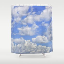 Fluffy clouds blue sky sunny day Shower Curtain