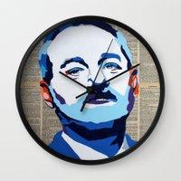 bill murray Wall Clocks featuring Bill Murray by VenusArtist