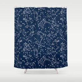 Constellations animal constellations stars outer space night sky pattern by andrea lauren Duschvorhang