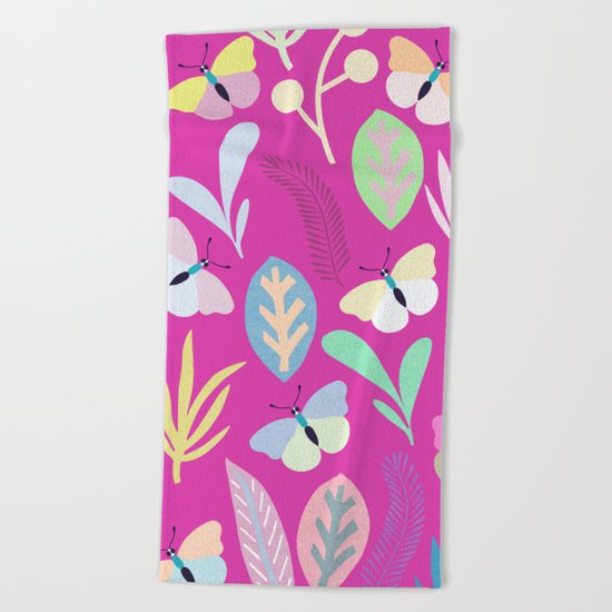 Flower and Butterfly Beach Towel