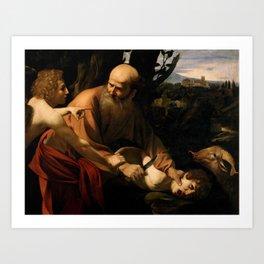 Sacrifice of Isaac  circa 1603 by Caravaggio (Milan 1571 - Porto 1610) Art Print