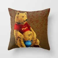 pooh Throw Pillows featuring Pooh by J ō v