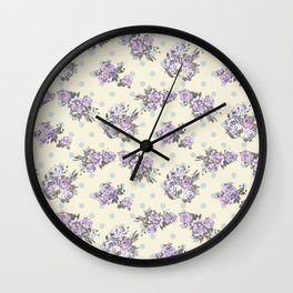 Vintage chic pastel lavender blue ivory roses polka dots pattern Wall Clock