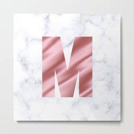 Pink Silk on Marble Initial Monogram Letter M Metal Print