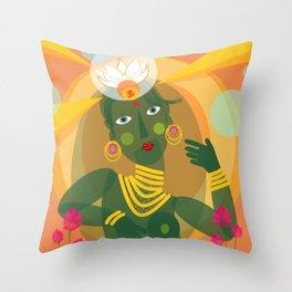 Green Tara doll Throw Pillow