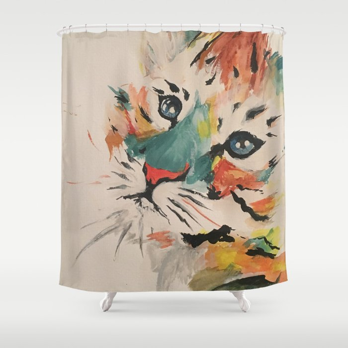 Water color baby tiger Shower Curtain