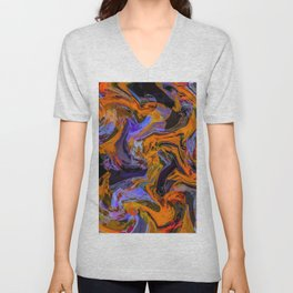 geometric line painting abstract background in brown orange purple Unisex V-Neck