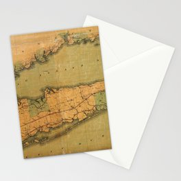 Map Of Long Island 1888 Stationery Cards