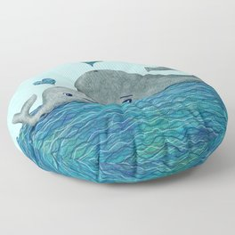 Whale Mom and Baby with Hearts in Gray and Turquoise Floor Pillow