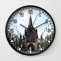 medieval Wall Clocks featuring medieval glasgow by seb mcnulty