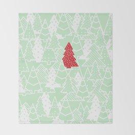 Elegant Green Christmas Trees Holiday Pattern Throw Blanket