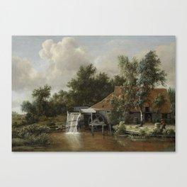 A Watermill, Meindert Hobbema, c. 1664 Canvas Print