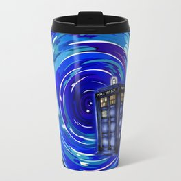Blue Phone Box with Swirls Travel Mug