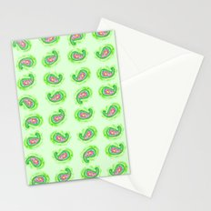 Watermelon Green Paisley Watercolor Stationery Cards