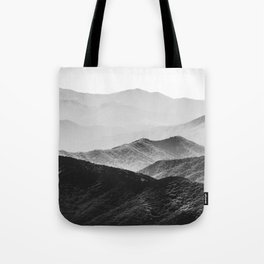 Glimpse - Black and White Mountains Landscape Nature Photography Tote Bag