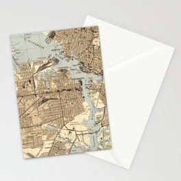 Vintage Norfolk & Portsmouth Virginia Map (1944) Stationery Cards