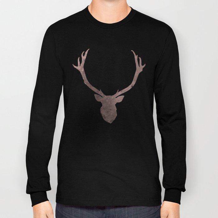 Deer stag silhouette grunge design Long Sleeve T-shirt
