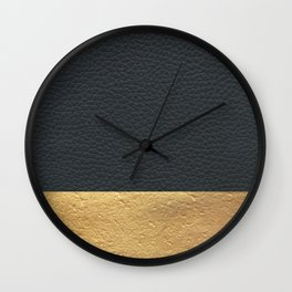 Color Blocked Gold & Leather Wall Clock