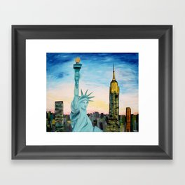 Statue of Liberty with view of NEW YORK Framed Art Print