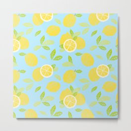 Bright And Sunny And Stamped Lemon Citrus Pattern Metal Print