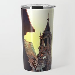 Watercolor painting of the Cathedral on the Plaza de Armas in Arequipa, Peru. Travel Mug