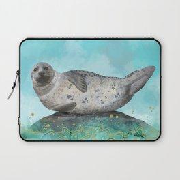 Cute Alaskan Iliamna Seal in Banana Pose Laptop Sleeve
