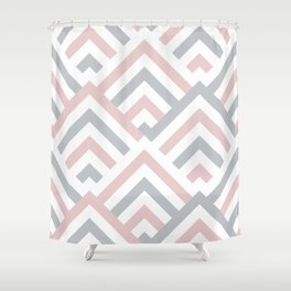 Pink + Gray | Brentwood Abstract Art Shower Curtain
