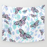 butterflies Wall Tapestries featuring Butterflies by Ornaart