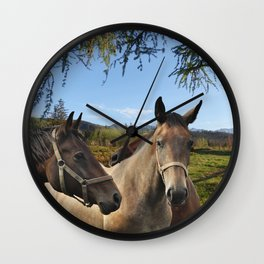 HORSES ON A MONTAIN MEADOW Wall Clock
