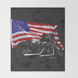 DARK HARLEY SPORTSTER MOTORCYCLE Throw Blanket