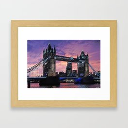 Tower Bridge, London at Sunset Landscape Painting by Jeanpaul Ferro Framed Art Print