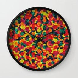 Colorful Half Hexagons Pattern #08 Wall Clock