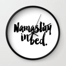 Namast'ay In Bed Yoga Quote Wall Clock