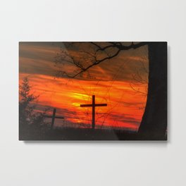 Cross and the sunset Metal Print