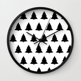 Chistmas Tree Black and White Seamless Pattern Wall Clock