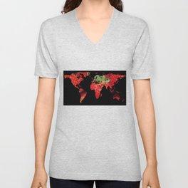 World Map Silhouette - Strawberries Unisex V-Neck