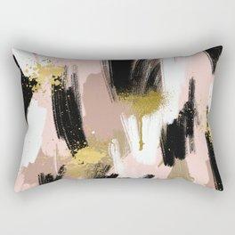 Blush and Gold Abstract Rectangular Pillow