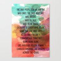 kerouac Canvas Prints featuring Kerouac Watercolour: by NomadicArt