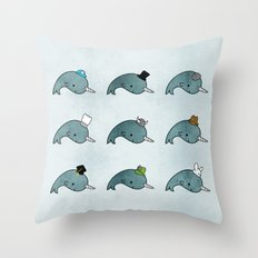 The many hats of Narwhals Throw Pillow