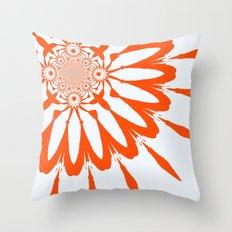 The Modern Flower White & Orange Throw Pillow