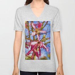 Tropical Flowers Design Unisex V-Neck