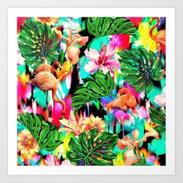 Flamingo Pattern Art Print