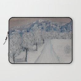 Winter Path, Original Contemporary Oil Painting, Modern Art, Fine Art by Lu aka Luna Smith Laptop Sleeve